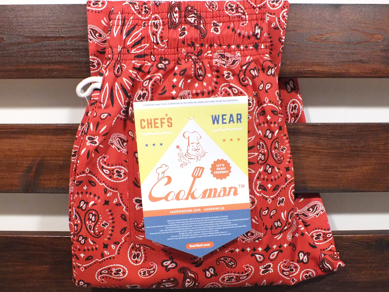 COOKMAN LOS ANGELES CALIFORNIA CHEF PANTS PAISLEY RED
