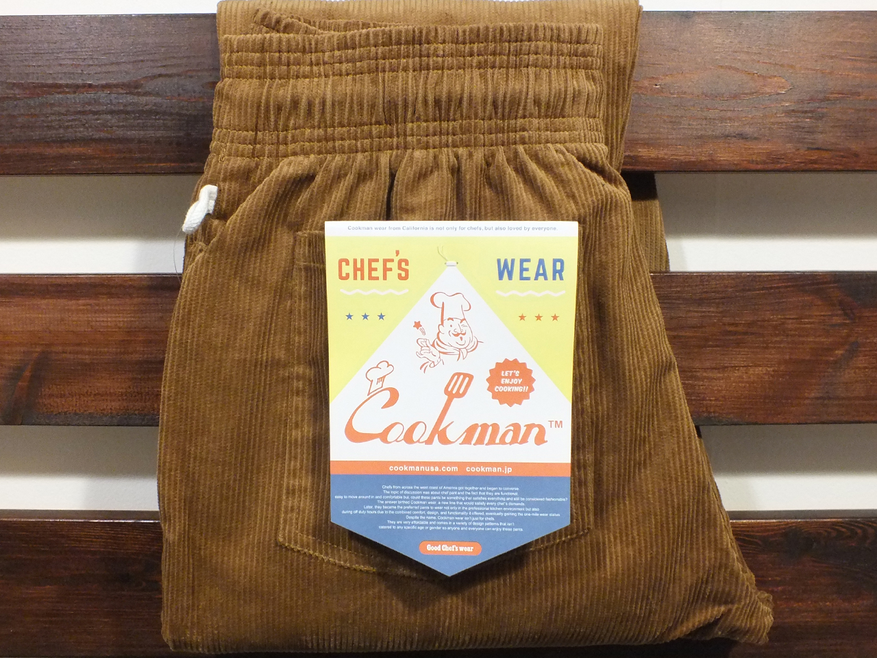 COOKMAN LOS ANGELES CALIFORNIA CHEF PANTS CORDUROY BROWN