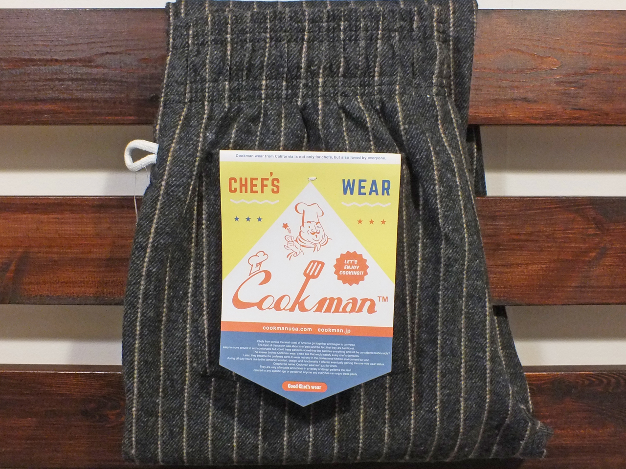 COOKMAN LOS ANGELES CALIFORNIA CHEF PANTS WOOL MIX STRIPE GRAY