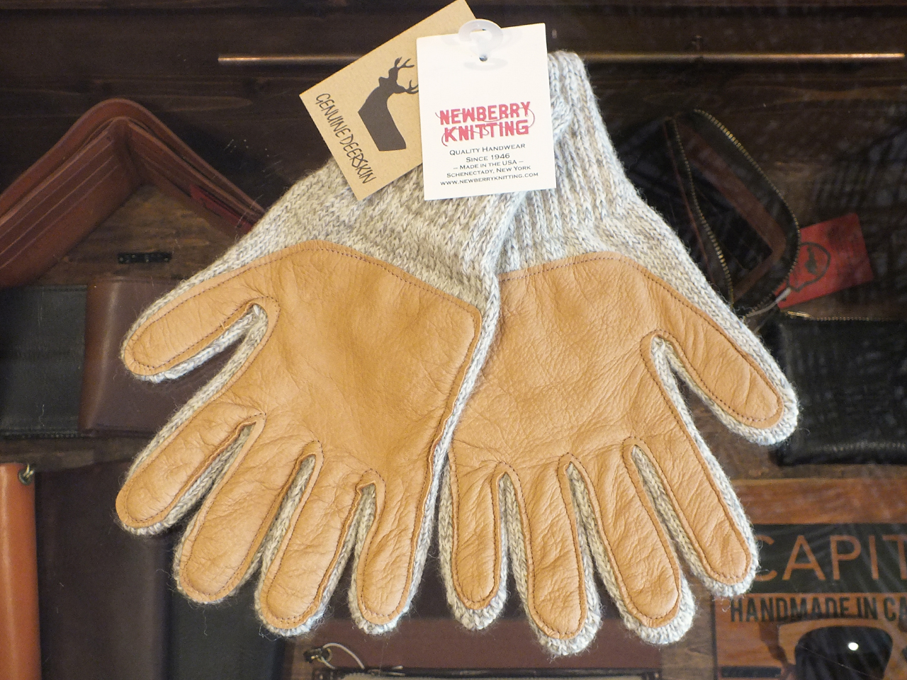 NEWBERRY KNITTING DEERSKIN×WOOL GLOVE OATMEAL ※レディースサイズ有