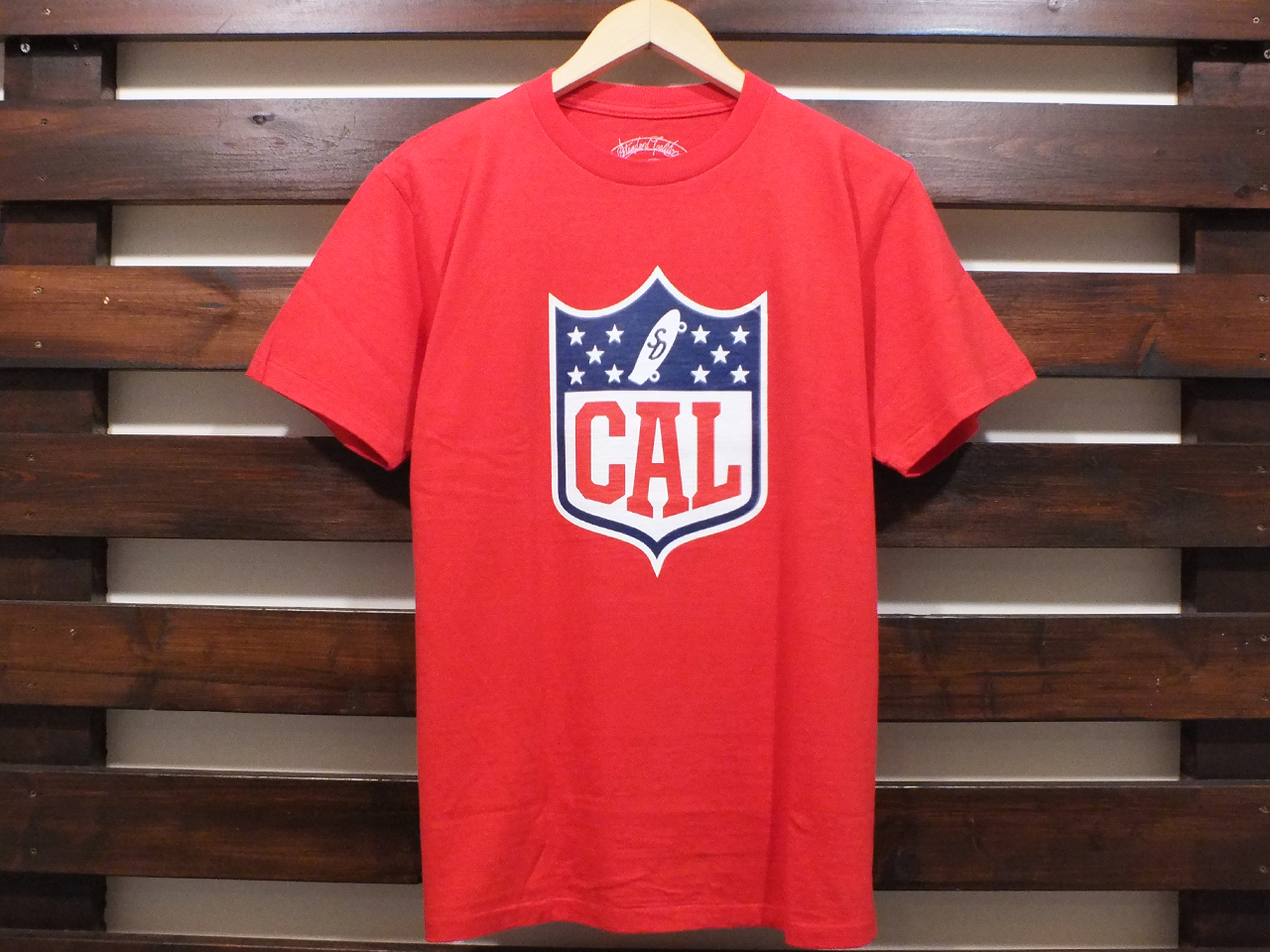 STANDARD CALIFORNIA CAL SHIELD LOGO T-SHIRT RED 「メール便OK」