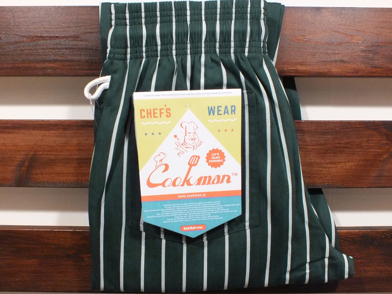 COOKMAN LOS ANGELES CALIFORNIA CHEF PANTS D.GREEN STRIPE