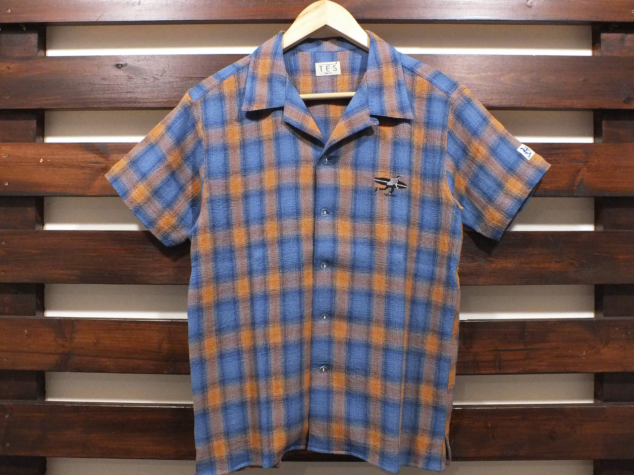 【送料無料】The Endless Summer TES CALIFORNIA SMOKE CHECK OPEN S/S SHIRT BLUE