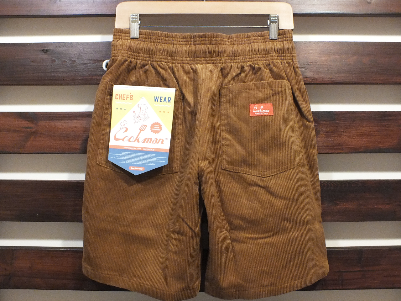 COOKMAN LOS ANGELES CALIFORNIA CHEF SHORT PANTS CORDUROY BROWN