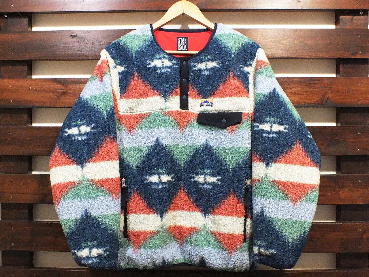 【送料無料】STANDARD CALIFORNIA PULLOVER FLEECE JACKET BLUE