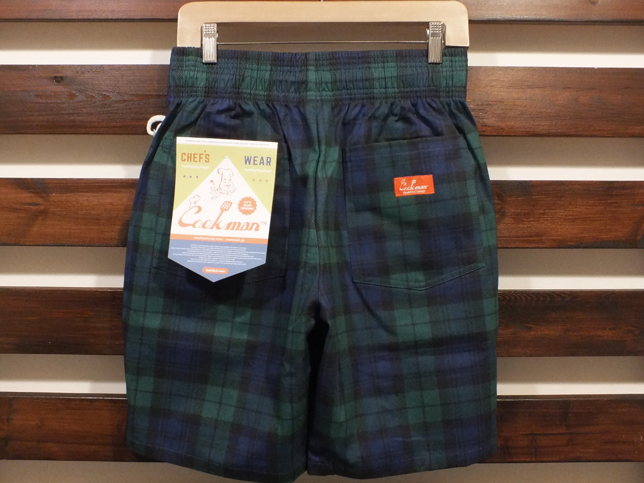 COOKMAN LOS ANGELES CALIFORNIA CHEF SHORT PANTS BLACK WATCH CHECK