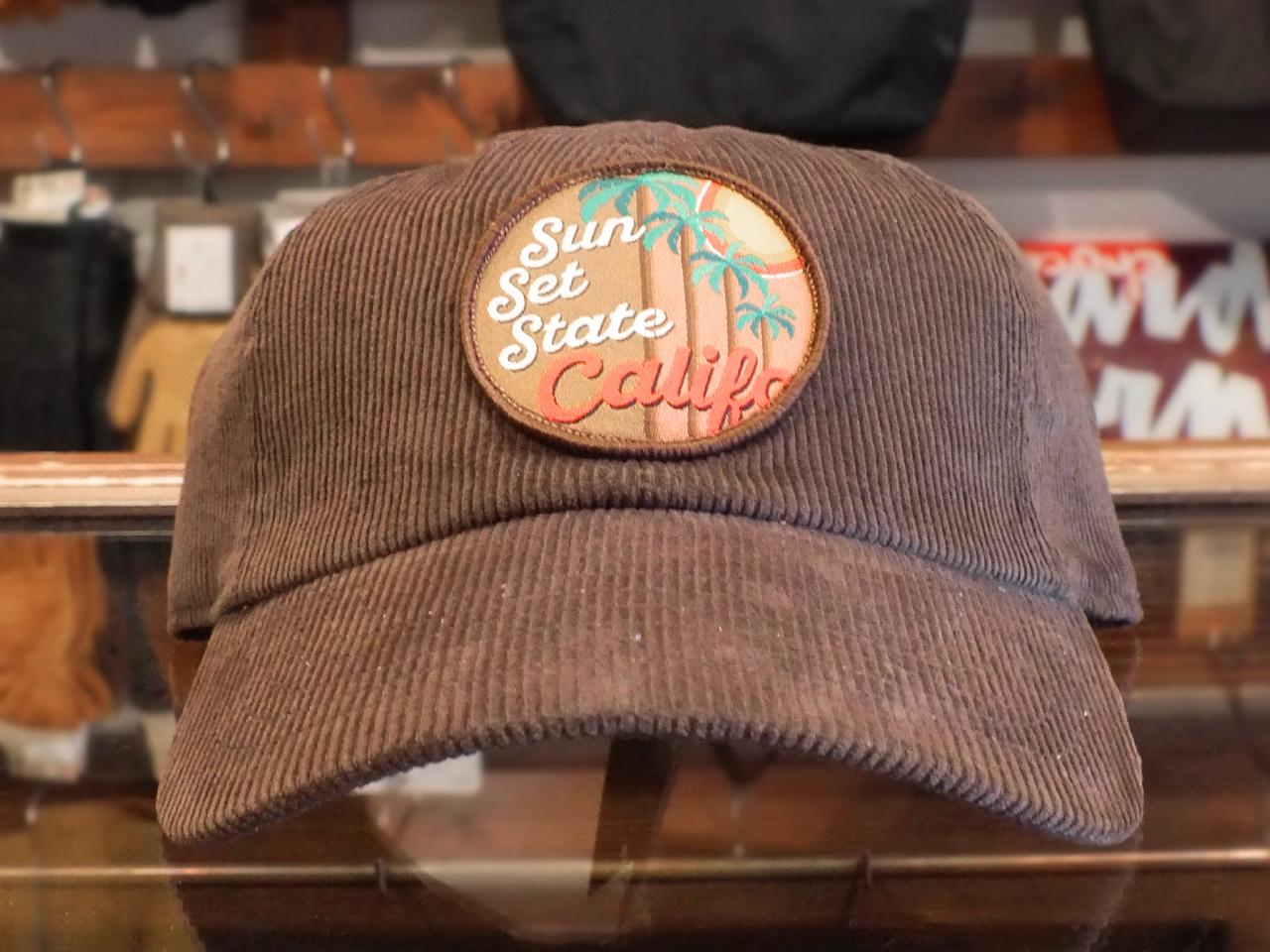 "CALIFOLKS CORDUROY CAP ""SUNSET STATE"" BROWN"