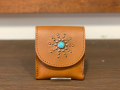【送料無料】HTC FLAP COIN & CARD CASE #STARBURST TURQUOISE LIGHT BROWN