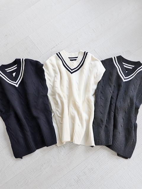 TOUJOURS (トゥジュー) クリケット Bib セーター - VM33XK04