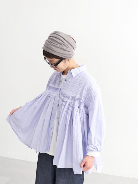 mizuiro ind (ミズイロインド) ピンタックワイドシャツ