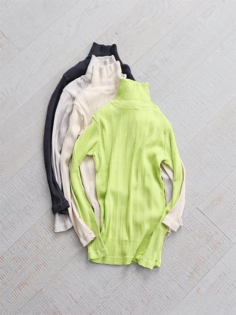 Ohh! (オー) Cotton Silk Random L/S Turtle (ランダムリブ・長袖タートル)