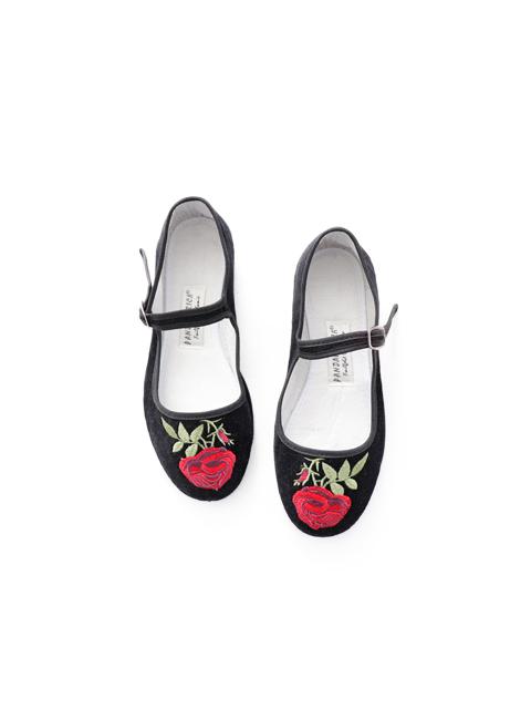 PANDAMERICA (パンダメリカ) ローズ刺繍・ベルベットメリージェーン