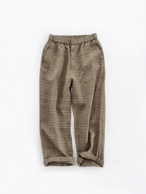 TOUJOURS (トゥジュー) Easy Trousers - BROWNY LINEN MADRAS PLAID CLOTH - KM30JP03