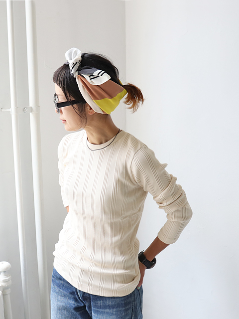 Ohh! (オー) Cotton Silk Random L/S Crew (ランダムリブ・長袖)