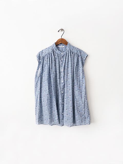 TOUJOURS (トゥジュー) Pleated Sleeveless Long Shirt (小花柄N/Sシャツ)