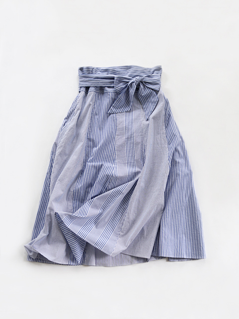 TOUJOURS (トゥジュー) Thai Style Flared Combination Skirt - BLUE STRIPE COTTON SEERSUCKER CLOTH - KM30TK03