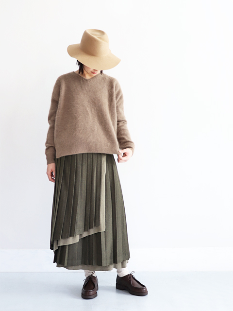 White Mountaineering (ホワイトマウンテニアリング) PLEATED WOOL LONG SKIRT (プリーツスカート)
