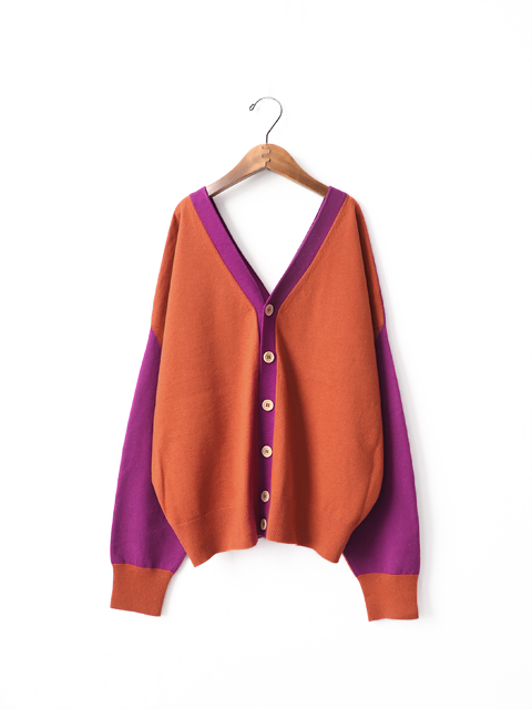 unfil (アンフィル) cashmere intarsia  open back cardigan (2WAYカシミヤカーディガン)