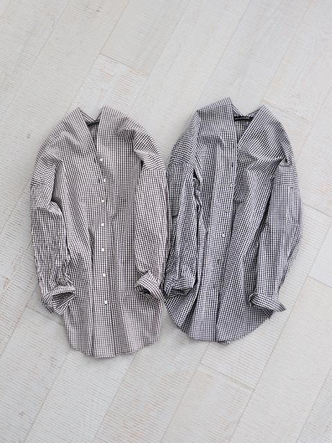 mizuiro ind (ミズイロインド) チェックVネックシャツ