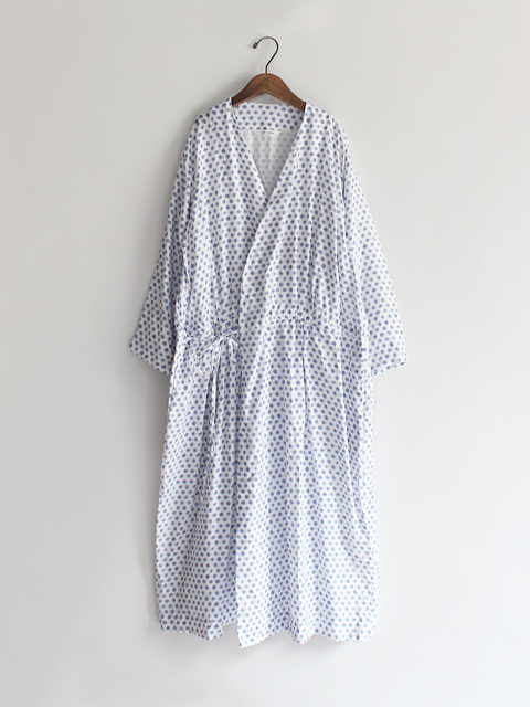 TOUJOURS (トゥジュー) String Cache-coeur Dress - NATURAL OVER DYE BLOCK PRINT LINEN CLOTH - TM28VD07