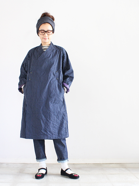 Needles (ニードルズ) Samue Coat - 9oz stripe denim (サムエコート)