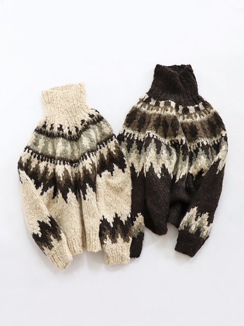 unfil (アンフィル) cashmere blend hand-knit sweater (ノルディック柄ハンドニット)