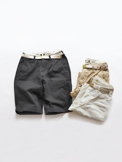 MASTER&Co. (マスター&コー) オフィサーショートパンツ - Chino cloth short with belt