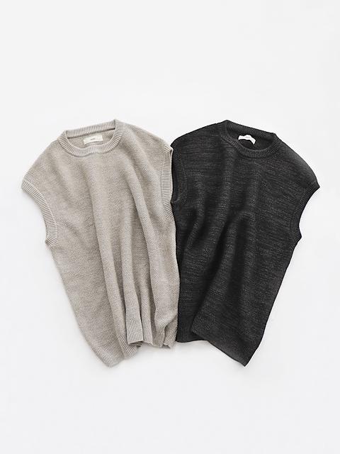 unfil (アンフィル) French Linen Honeycomb-Knit Vest (フレンチリネン・ニットベスト/メンズサイズ)
