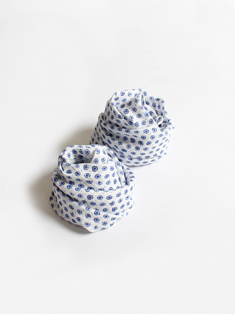 TOUJOURS (トゥジュー) Scarf - NATURAL OVER DYE BLOCK PRINT LINEN CLOTH - TM28VA09