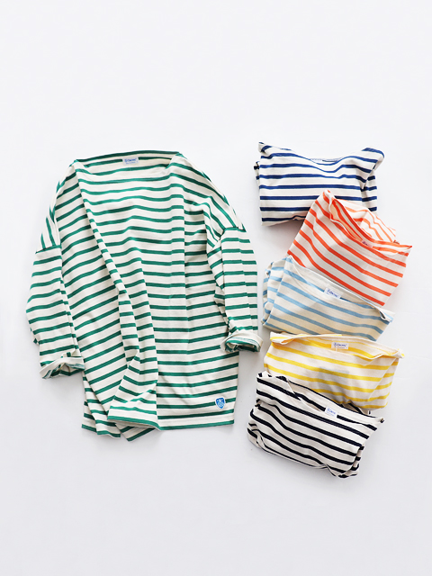 ORCIVAL (オーシバル) ボーダー・七分袖ワイドTシャツ