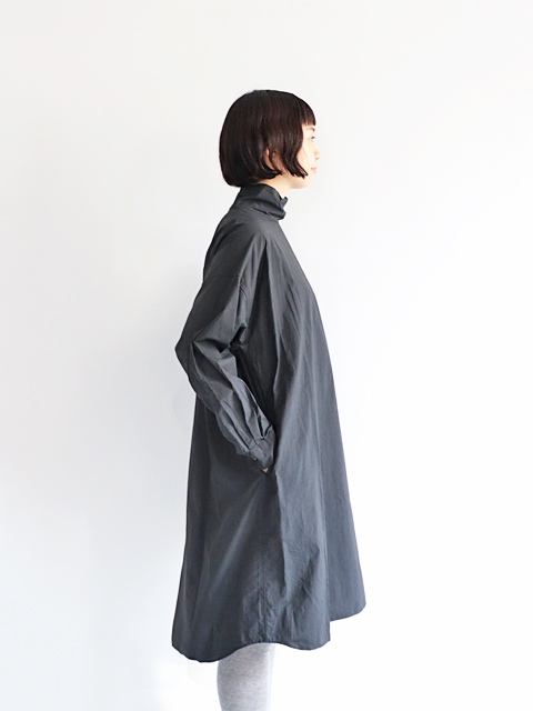 TOUJOURS (トゥジュー)  High Neck Big Shirt Dress - HIGH COUNT COTTON WEATHER CLOTH - TM28SD03