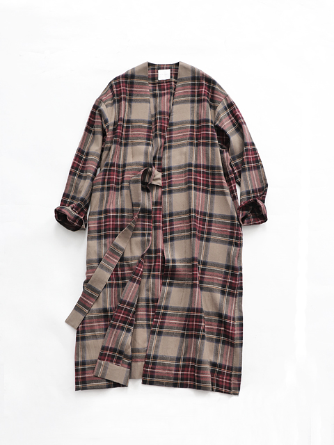 TOUJOURS (トゥジュー) Strapped Robe Coat / BROWN TARTAN - TM31IC01