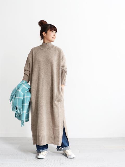 """maillot (マイヨ) """"mature""""Lamb Wool Hi-Neck OP (ラムウール・ハイネックワンピ) MAK-19242"""