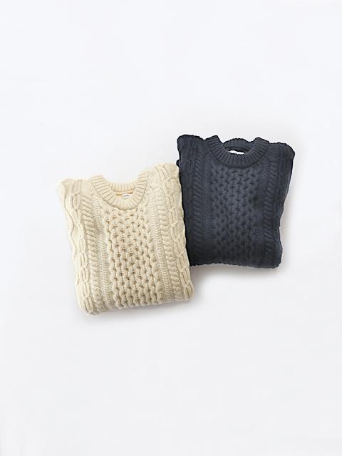 unfil (アンフィル) french merino cable-knit sweater (ケーブルセーター/メンズサイズ)