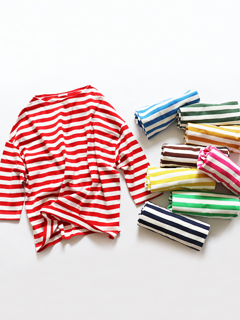 maillot (マイヨ) Border Drop Shoulder T-shirts (ドロップショルダー・ボーダーTee/七分袖) MAC-15145