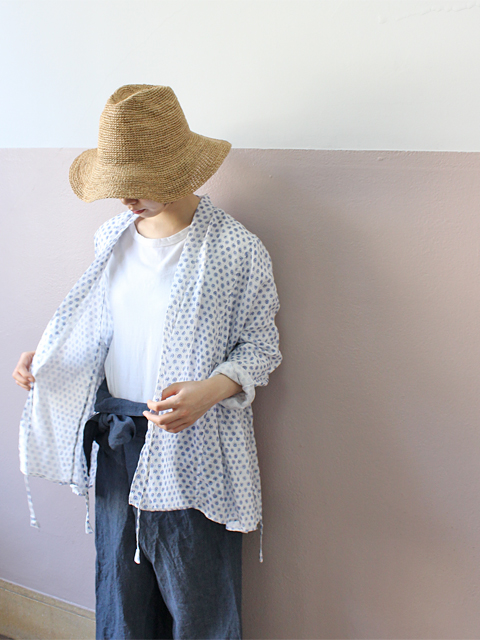 TOUJOURS (トゥジュー) Kediya Jacket - NATURAL OVER DYE BLOCK PRINT LINEN CLOTH - TM28VJ01