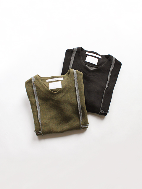 【50%OFF】 White Mountaineering (ホワイトマウンテニアリング) DROP SHOULDER V NECK PULLOVER (切替Vネックトップス)