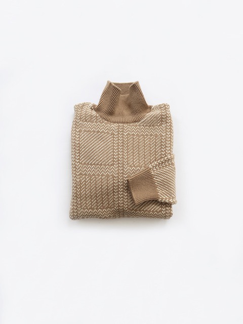 AURALEE (オーラリー) HARD TWIST MERINO JACQUARD KNIT TURTLE NECK P/O (ジャガードセーター)