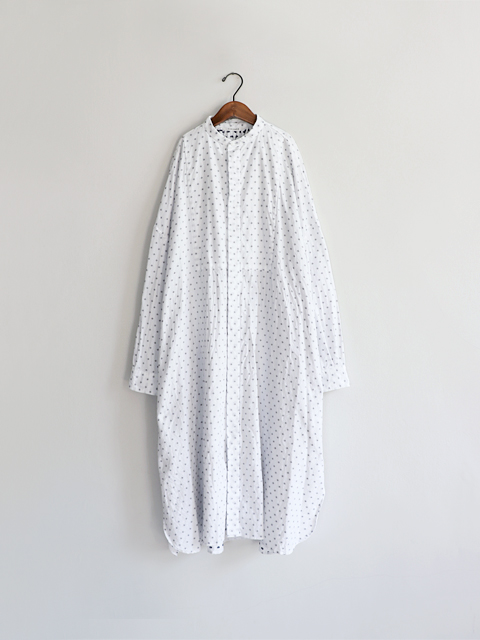 TOUJOURS (トゥジュー)  Back Gathered Bosom Shirt Dress - COTTON BLUE CUT JACQUARD CLOTH - KM29BD03