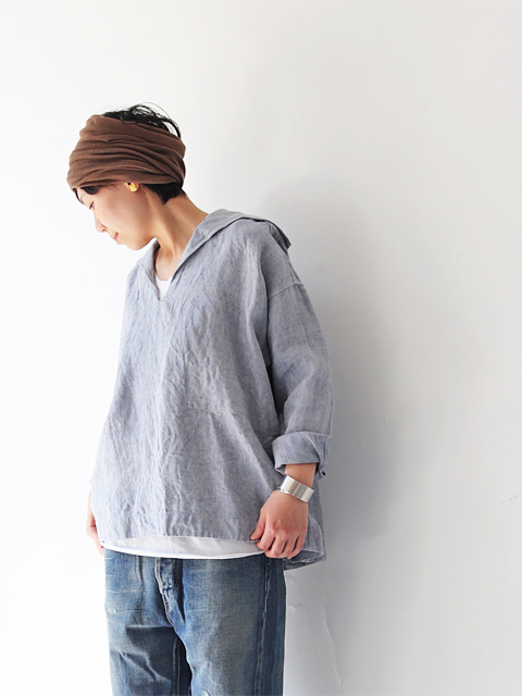 TOUJOURS (トゥジュー) Pullover Sailor Shirt - USED FINISH HARD LINEN CHAMBRAY TWILL CLOTH - KM30AJ01