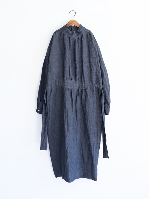 TOUJOURS (トゥジュー)  Back Button Work Smock Dress - WASHED IRISH LINEN CHAMBRAY CLOTH - VM28RD05