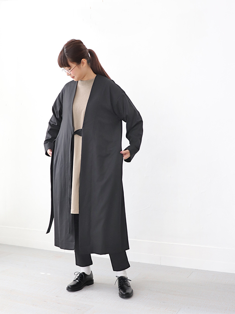 TOUJOURS (トゥジュー) Strapped Robe Coat / BLACK - TM31IC05