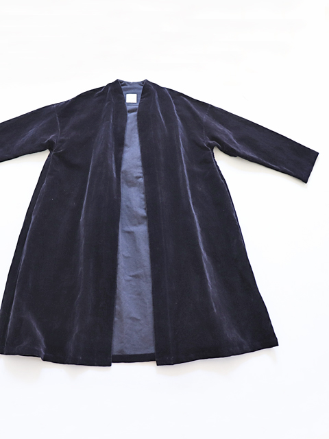 TOUJOURS (トゥジュー) Inverted Pleat Robe Coat - WASHED C/L VELVET CLOTH - TM29AC01