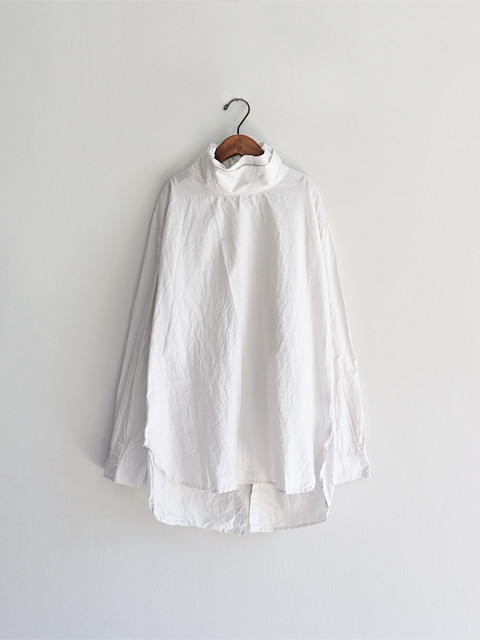 TOUJOURS (トゥジュー)  Back To Front Layered High Neck Shirt - HIGH COUNT COTTON×SILK FAILLE CLOTH - KM28QS03