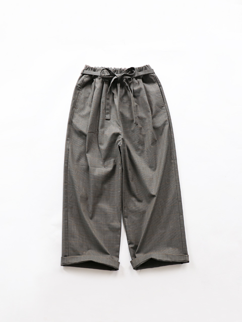 ≪Special Order≫ TRAVAIL MANUEL (トラバイユマニュアル) リボン付き2タックパンツ (グレンチェック)