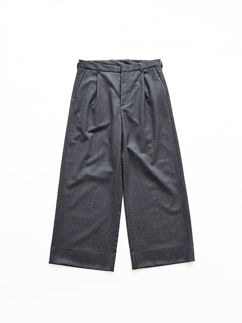 TOUJOURS (トゥジュー) Single Pleated Wide Trousers - SUPER 120's WORSTED WOOL MELANGE FLANNEL CLOTH - VM29MP03
