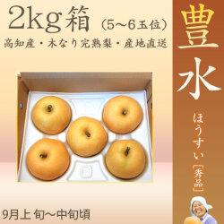 豊水 梨 (ほうすい なし)・秀品・2kg・5〜6玉入り・徳久梨園の木なり完熟【産地直送】