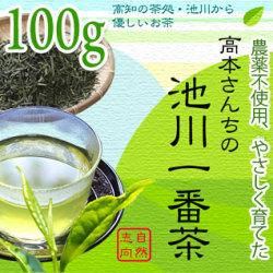 【土佐茶】高知の池川茶・農薬不使用・一番茶緑茶(煎茶)100g【DM便対応可】