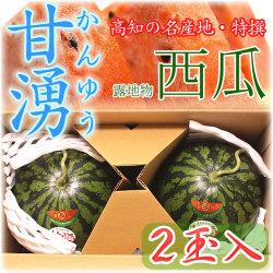 高知県産・特撰高級西瓜(スイカ)・甘湧(かんゆう)・露地物・秀品・2Lサイズ・2個