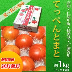 【送料無料】高知県仁淀川町産・てっぺんとまと・特秀品・約1kg(10〜20玉前後)・ご贈答用化粧箱入りフルーツトマト